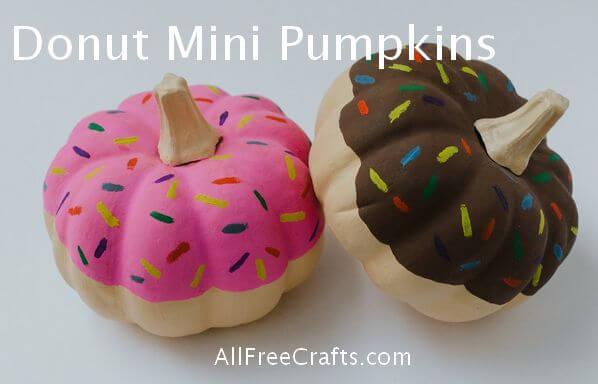 painted donut mini pumpkins