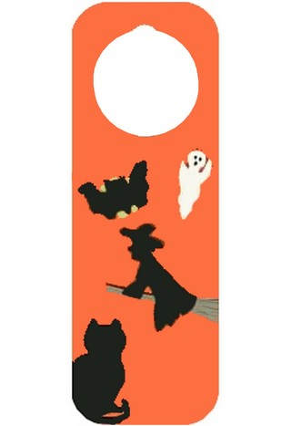 halloween silhouettes on a craft foam door hanger