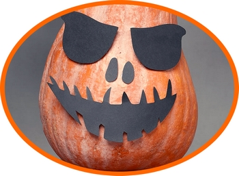 halloween cut-outs on squash
