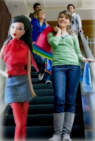 Barbie® in denim skirt