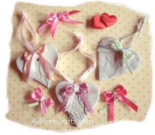 Clay Hearts and Tiny Ribbons