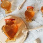 honey in heart shape jars