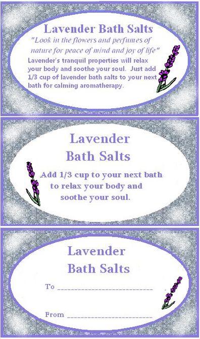 lavender bath salts label