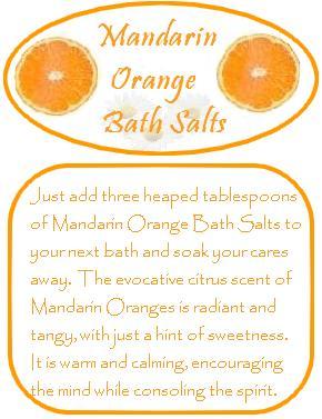 mandarin orange bath salts label