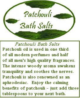 patchouli bath salts label