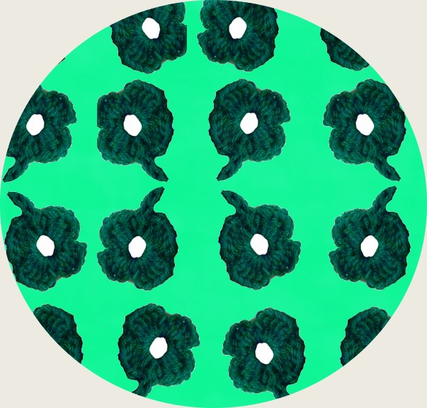 circle of crocheted 4-leaf clovers