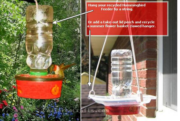 two ways of hanging a recycled hummingbird feeder