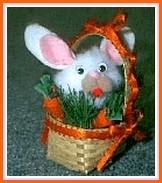 mini pompom bunny in a basket