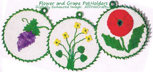 buttercup, flower, and grape crocheted potholder set