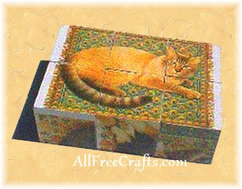 decoupaged puzzle blocks