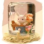 glass jar bunny