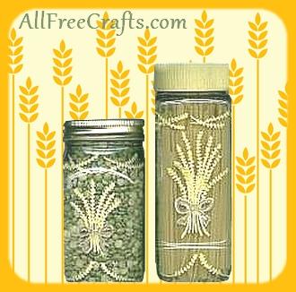 wheat sheaf painted jars