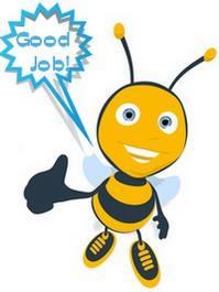 bee holding Good Job sign