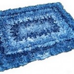 completed denim rug made from recycled denim