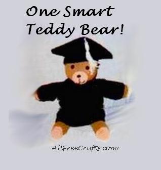 crocheted graduation outfit on teddy bear