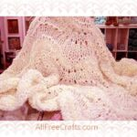 feather and fan knitted baby blanket