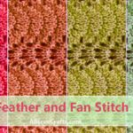 closeup of knitted feather and fan stitch