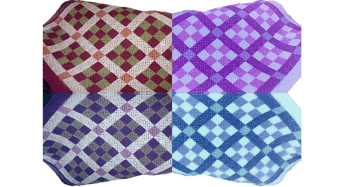 9 patch crocheted afghan in different color combinations