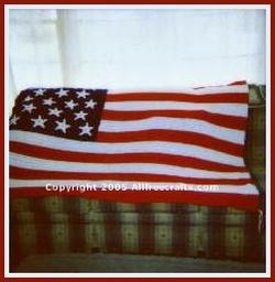 crocheted American flag afghan