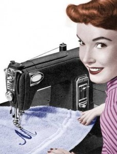 embroidering a monogram on a towel using a vintage sewing machine