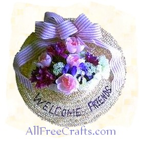 spring hat floral door decoration