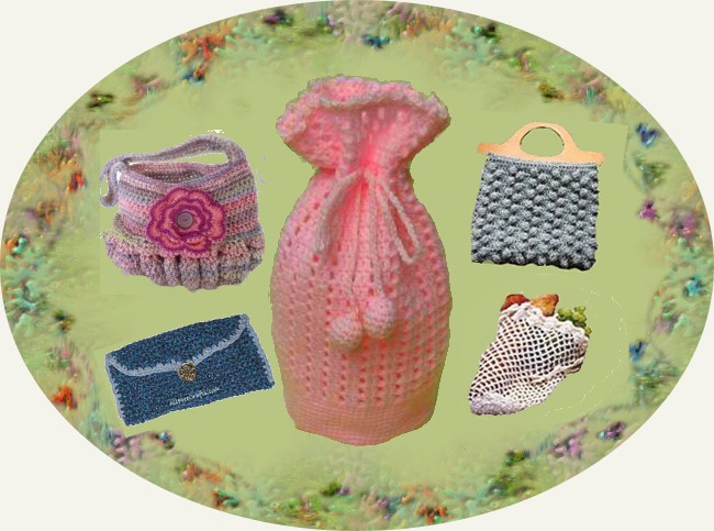 crocheted bags, wallets and purses