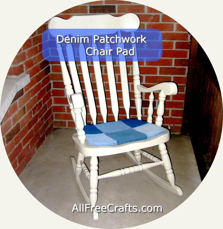 patchwork denim chair pad