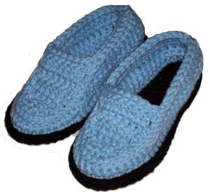Free Crochet Patterns For Family Slippers : Crocheted Moccasin Slippers - Free Pattern