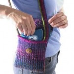 knitted mosaic shoulder bag
