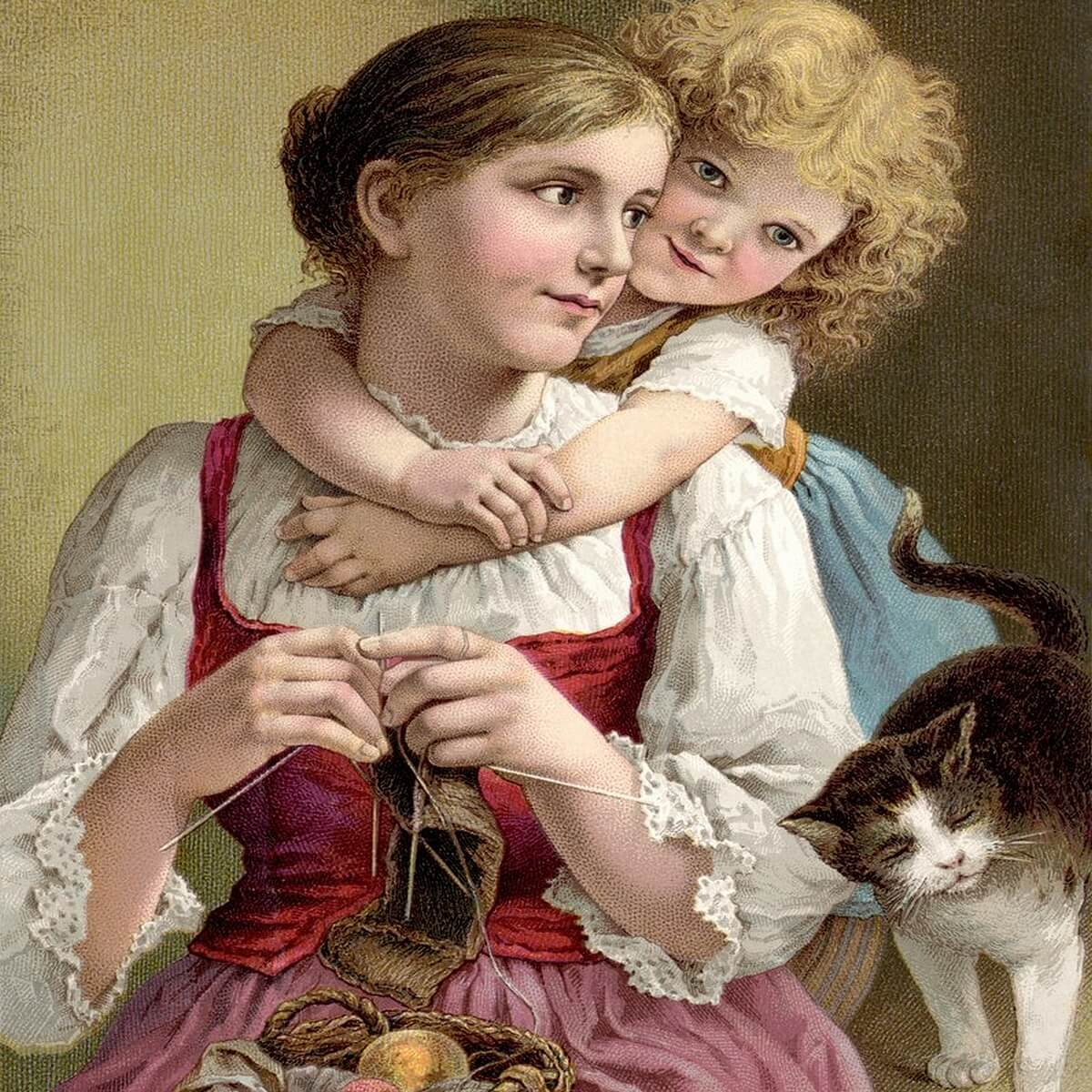 mother knitting with child