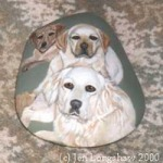 pet dogs painted on a rock