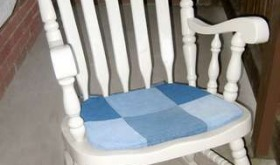 patchwork denim rocking chair pad