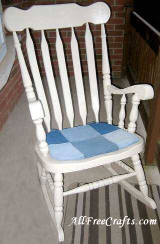 how to sew a denim chair pad. Black Bedroom Furniture Sets. Home Design Ideas