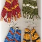 mini knitted scarf earrings