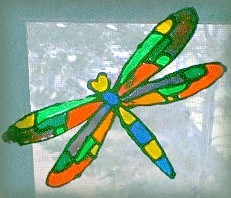how to make a faux stained glass dragonfly