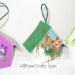 three small Christmas card bird houses