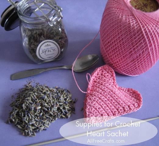 Crochet Heart Sachet Free Pattern