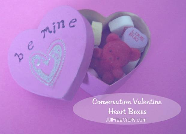 painted conversation heart box with alphabet stamps