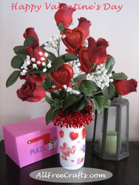 Valentine roses bouquet in coffee mate creamer bottle
