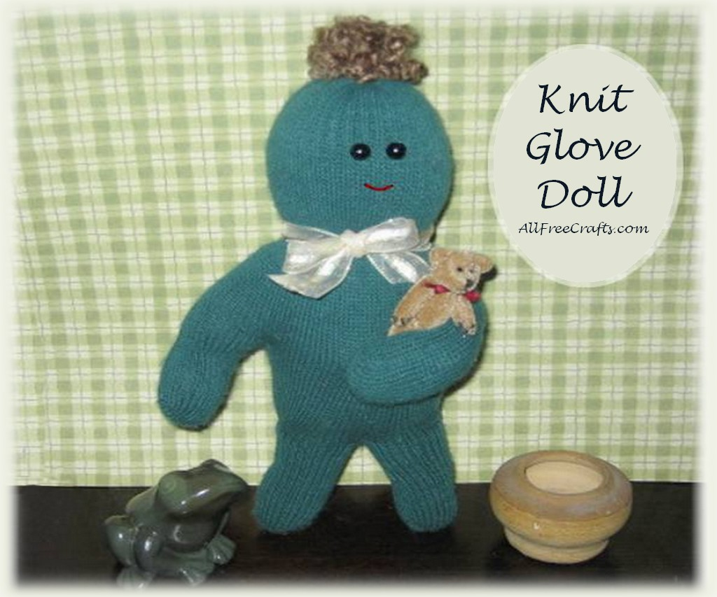 glove doll made from a pair of knit gloves