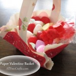 paper Valentine basket with doily wrapping