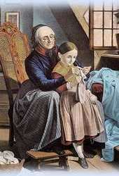 teaching a child to knit
