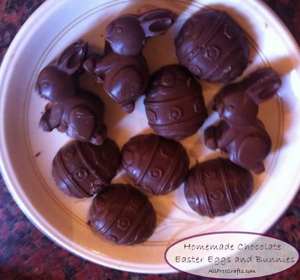 homemade chocolate Easter eggs and bunnies