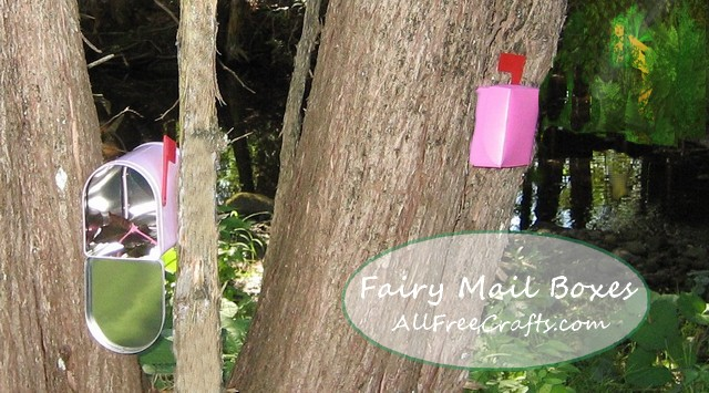 Fairy mail boxes in the garden.