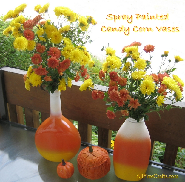Spray Painted Candy Corn Vases
