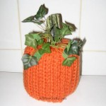 Crocheted Pumpkin Toilet Paper Cover