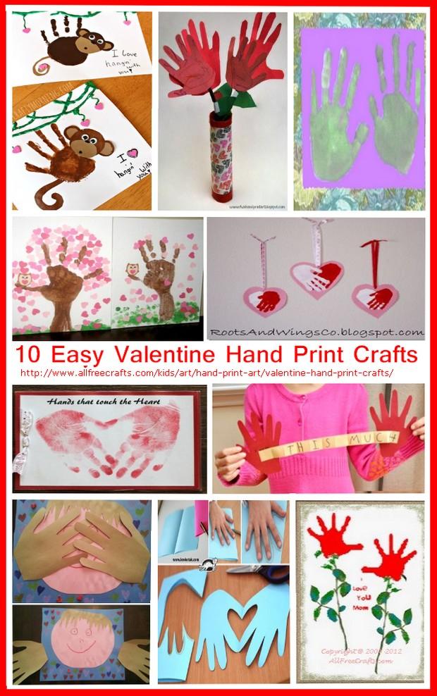 Valentine Hand Print Crafts
