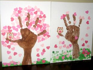 cherry blossom valentine hand print trees