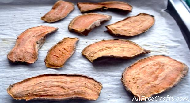 baked and dried sweet potato slices