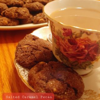 homemade salted caramel pecan cookies with a cup of tea